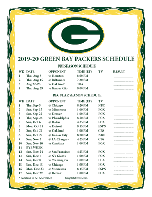 Green Bay Packers 2019-20 Printable Schedule