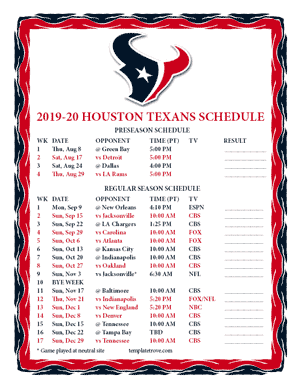 Houston Texans 2019-20 Printable Schedule - Pacific Times