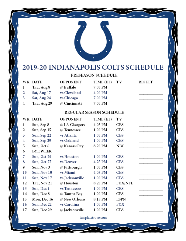 Colts Home Schedule 2020.Colts Home Schedule 2020 Schedule 2020 Hermanbroodfilm