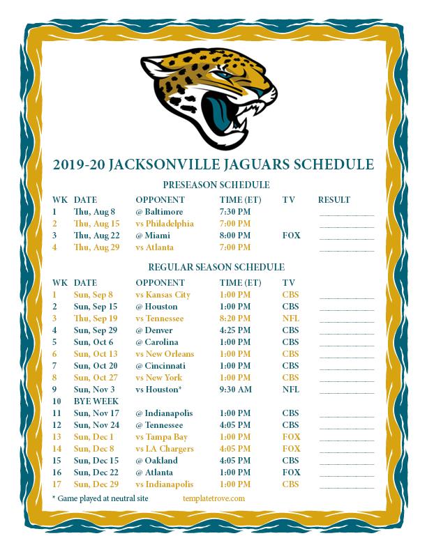 2020 Jacksonville Jaguars Schedule Printable 2019 2020 Jacksonville Jaguars Schedule