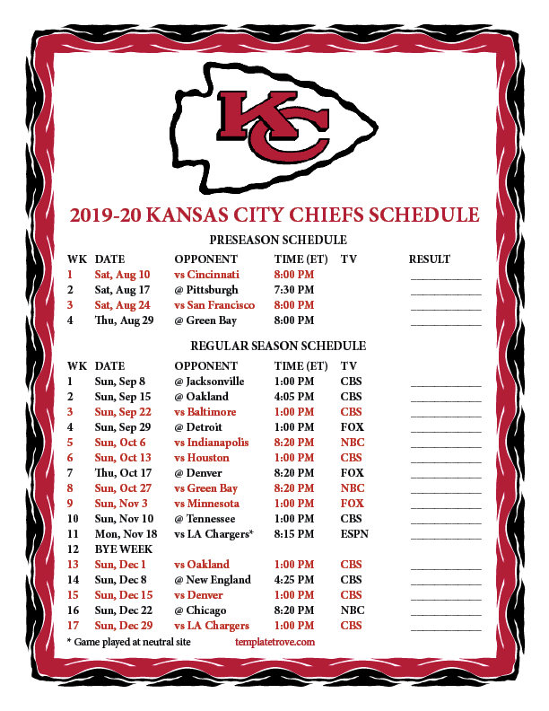 This is a graphic of Adaptable Kansas City Chiefs Printable Schedule