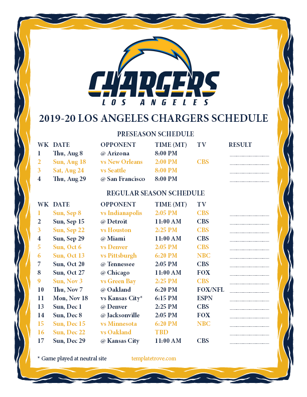 Chargers Preseason Schedule 2020 Printable 2019 2020 Los Angeles Chargers Schedule