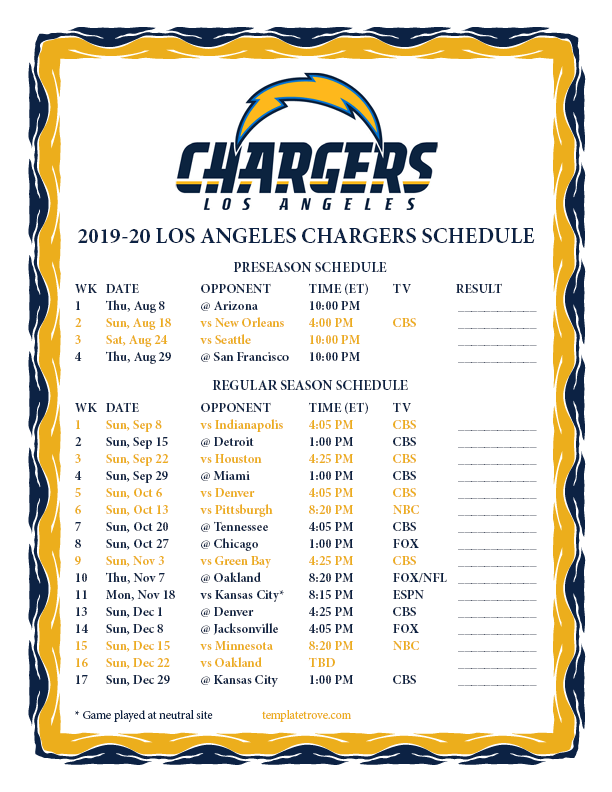 Chargers Schedule 2020.Printable 2019 2020 Los Angeles Chargers Schedule