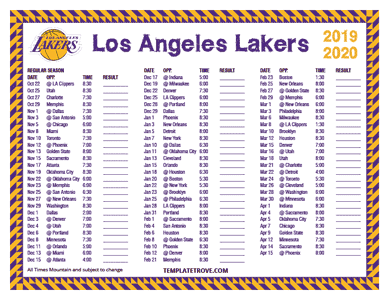 Los Angeles Lakers 2019-20 Printable Schedule - Mountain Times