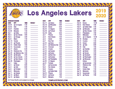 Los Angeles Lakers 2019-20 Printable Schedule - Pacific Times