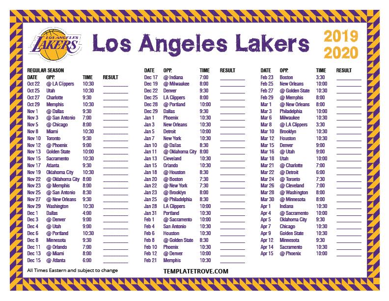 Lakers Schedule 2020.Printable 2019 2020 Los Angeles Lakers Schedule