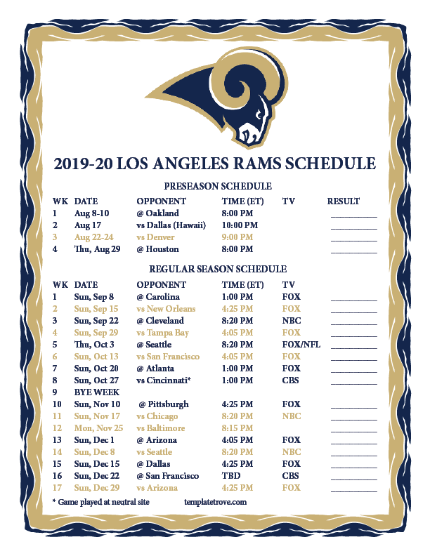 Csula Final Exam Schedule Fall 2020.Los Angeles Rams Schedule 2020 Schedule 2020 Hermanbroodfilm