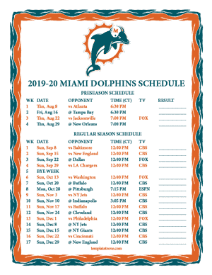 Miami Dolphins 2019-20 Printable Schedule - Central Times