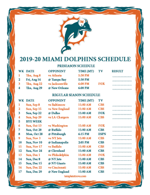 Miami Dolphins 2019-20 Printable Schedule - Mountain Times