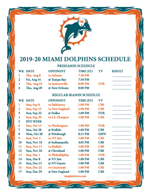 Miami Dolphins 2019-20 Printable Schedule