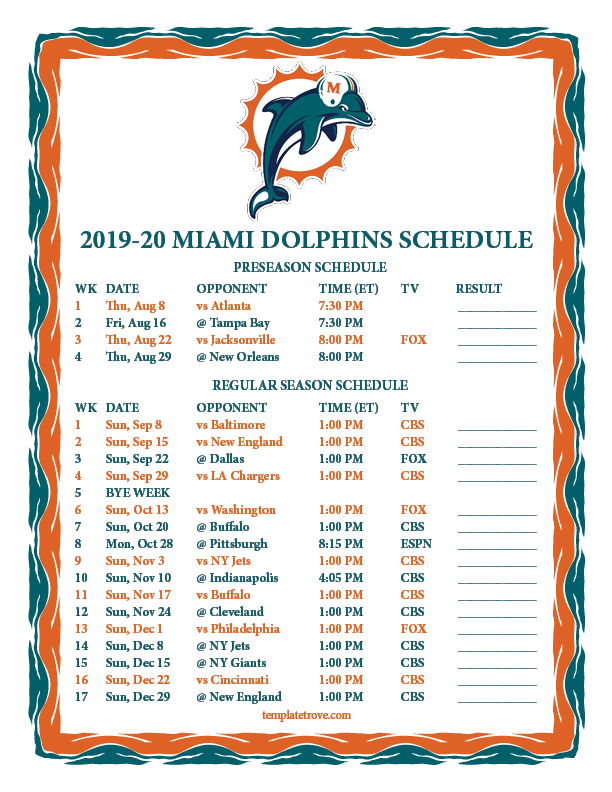 photo relating to Miami Dolphins Printable Schedule called Printable 2019-2020 Miami Dolphins Program