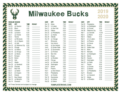 2019-20 Printable Milwaukee Bucks Schedule - Central Times