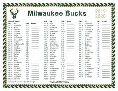 Milwaukee Bucks 2019-20 Printable Schedule - Pacific Times