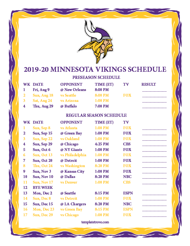Vikings Schedule 2019 Preseason Printable 2019 2020 Minnesota Vikings Schedule
