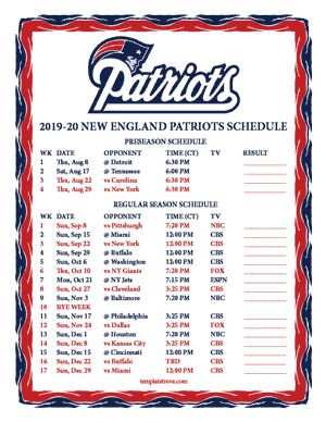 New England Patriots 2019-20 Printable Schedule - Central Times