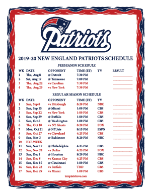 New England Patriots 2019-20 Printable Schedule