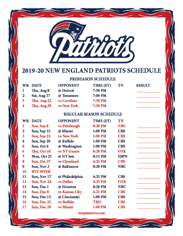 Patriot 2020 Schedule Printable 2019 2020 New England Patriots Schedule