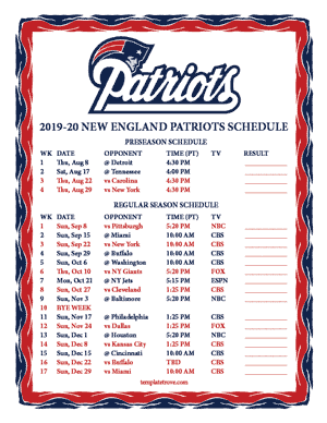 New England Patriots 2019-20 Printable Schedule - Pacific Times
