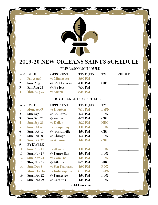 New Orleans Saints Schedule 2020 Printable 2019 2020 New Orleans Saints Schedule