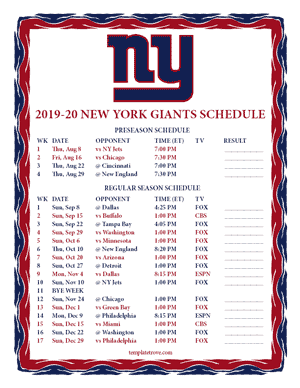 New York Giants 2019-20 Printable Schedule
