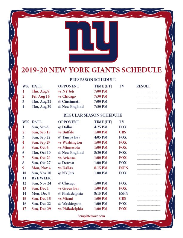 New York Giants 2019 Schedule Printable 2019 2020 New York Giants Schedule