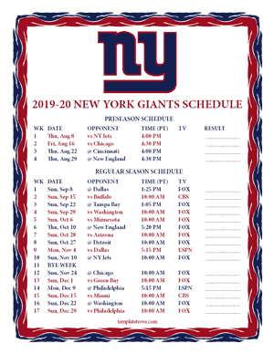New York Giants 2019-20 Printable Schedule - Pacific Times