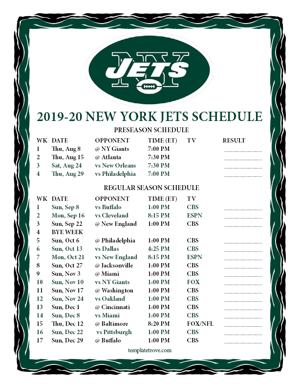 New York Jets 2020 Schedule Printable 2019 2020 New York Jets Schedule
