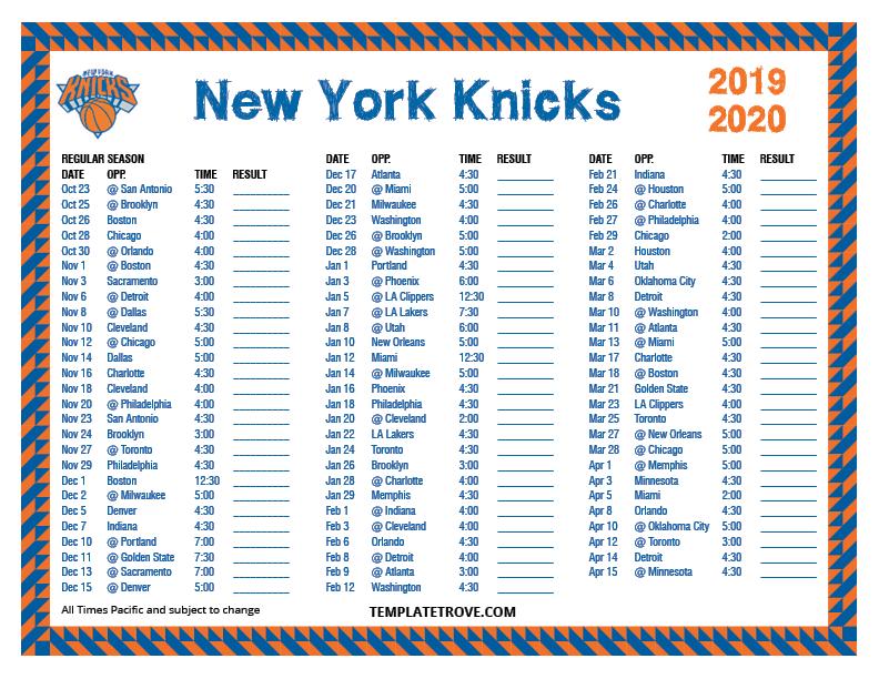 Printable 2019-2020 New York Knicks Schedule