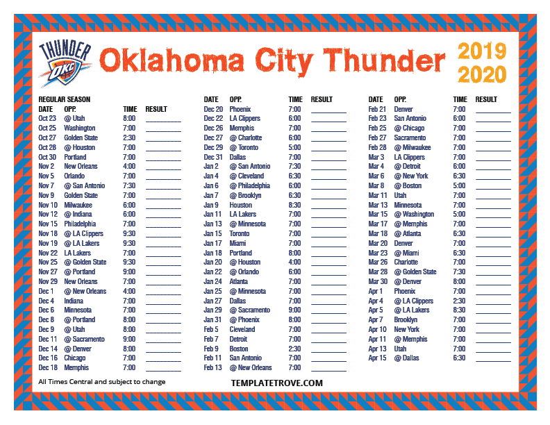 2019-2020-Printable-Oklahoma-City-Thunder-Schedule-Central-Times Free Newsletter Templates Pre on microsoft word, christmas family, preschool classroom,