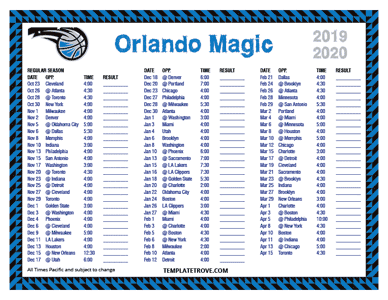 Orlando Magic 2019-20 Printable Schedule - Pacific Times