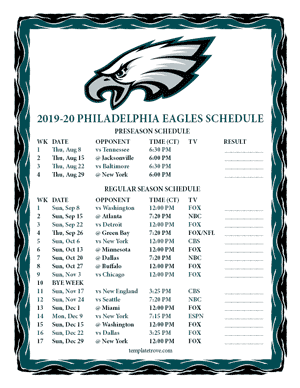 Philadelphia Eagles 2019-20 Printable Schedule - Central Times