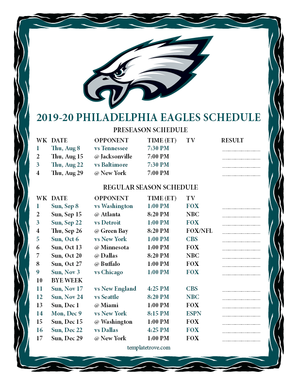 Philadelphia Eagles Calendar 2020 Printable 2019 2020 Philadelphia Eagles Schedule
