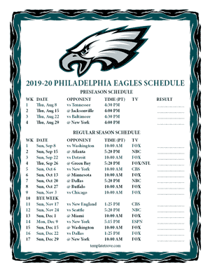 Philadelphia Eagles 2019-20 Printable Schedule - Pacific Times