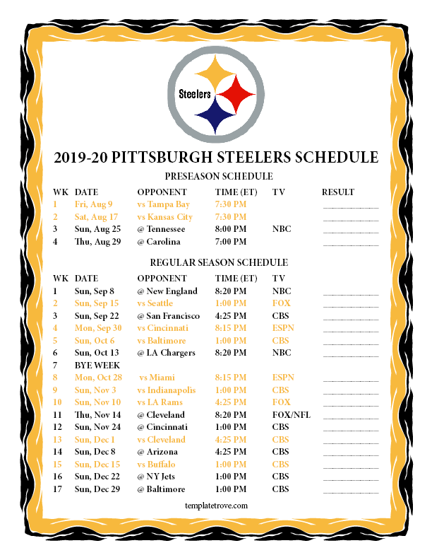image regarding Nfl Week 2 Schedule Printable known as Printable 2019-2020 Pittsburgh Steelers Plan