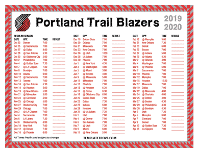 Portland Trail Blazers 2019-20 Printable Schedule - Pacific Times