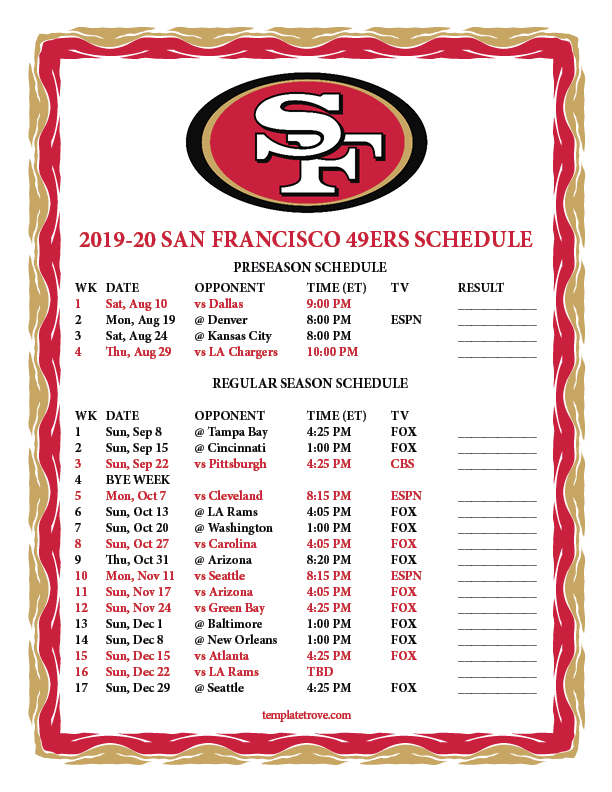 49ers Home Schedule 2020.Printable 2019 2020 San Francisco 49ers Schedule