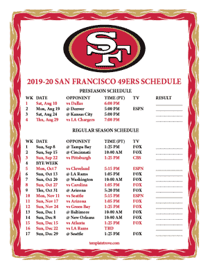 San Francisco 49ers 2019-20 Printable Schedule - Pacific Times