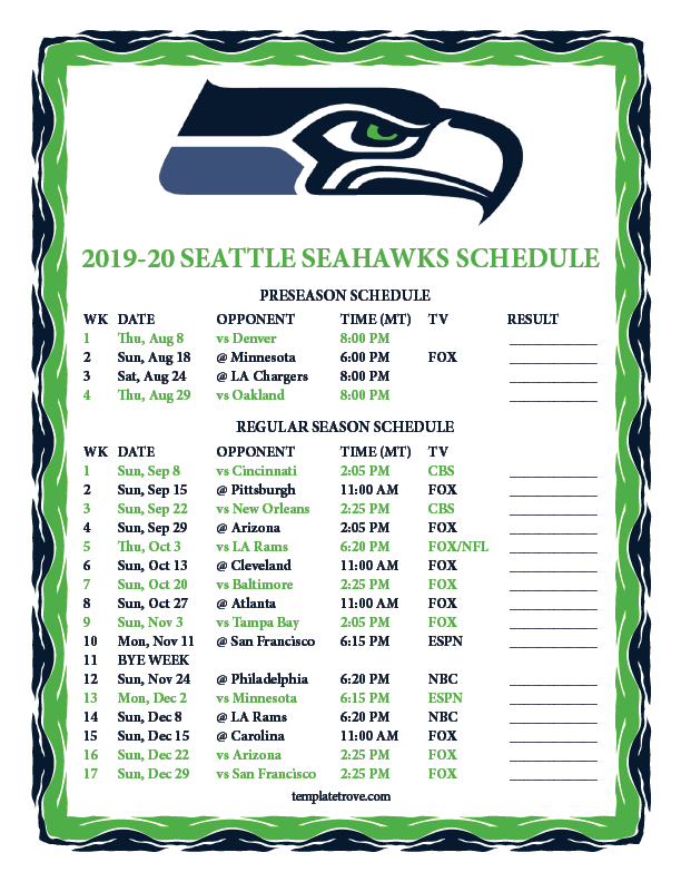 Seahawks Schedule 2020 Printable Printable 2019 2020 Seattle Seahawks Schedule