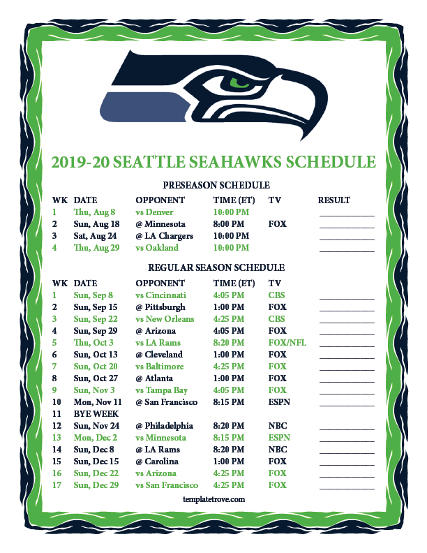 graphic regarding Nfl Week 2 Schedule Printable known as Printable 2019-2020 Seattle Seahawks Routine