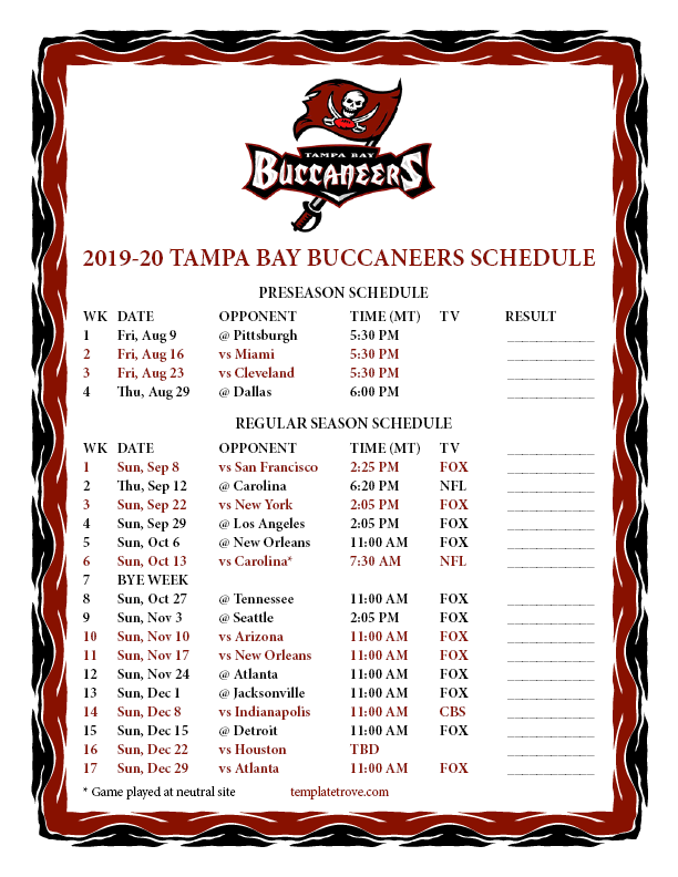 printable 2019 2020 tampa bay buccaneers schedule printable 2019 2020 tampa bay