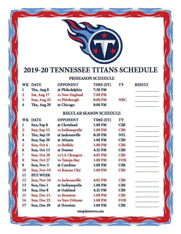 graphic regarding Nfl Week 12 Printable Schedule titled Printable 2019-2020 Tennessee Titans Routine