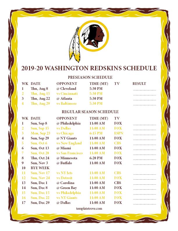 This is a photo of Juicy Printable Redskins Schedule 2020