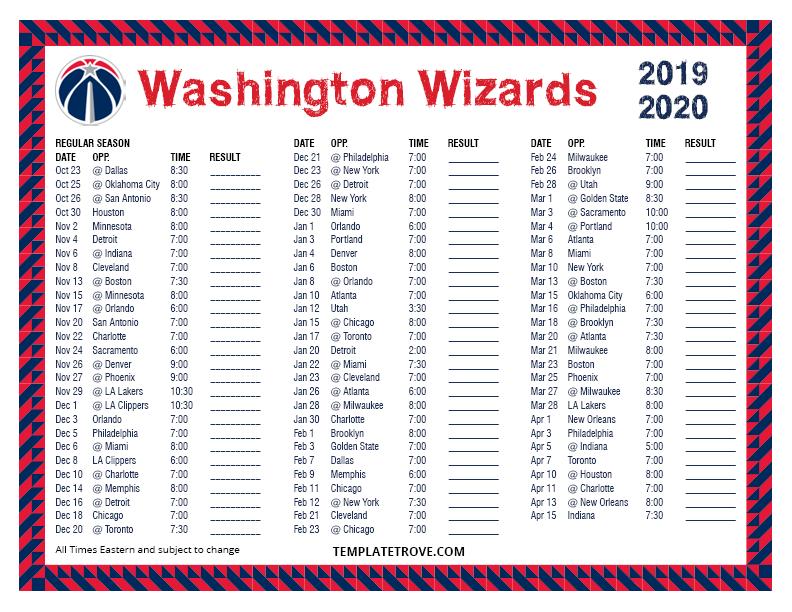 Printable 2019-2020 Washington Wizards Schedule
