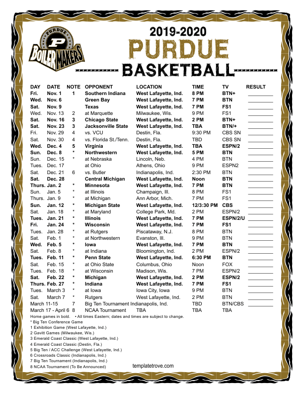 Printable 2019 2020 Purdue Boilermakers Basketball Schedule