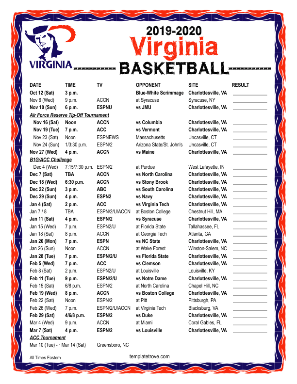 Cavs Schedule 2020.Printable 2019 2020 Virginia Cavaliers Basketball Schedule