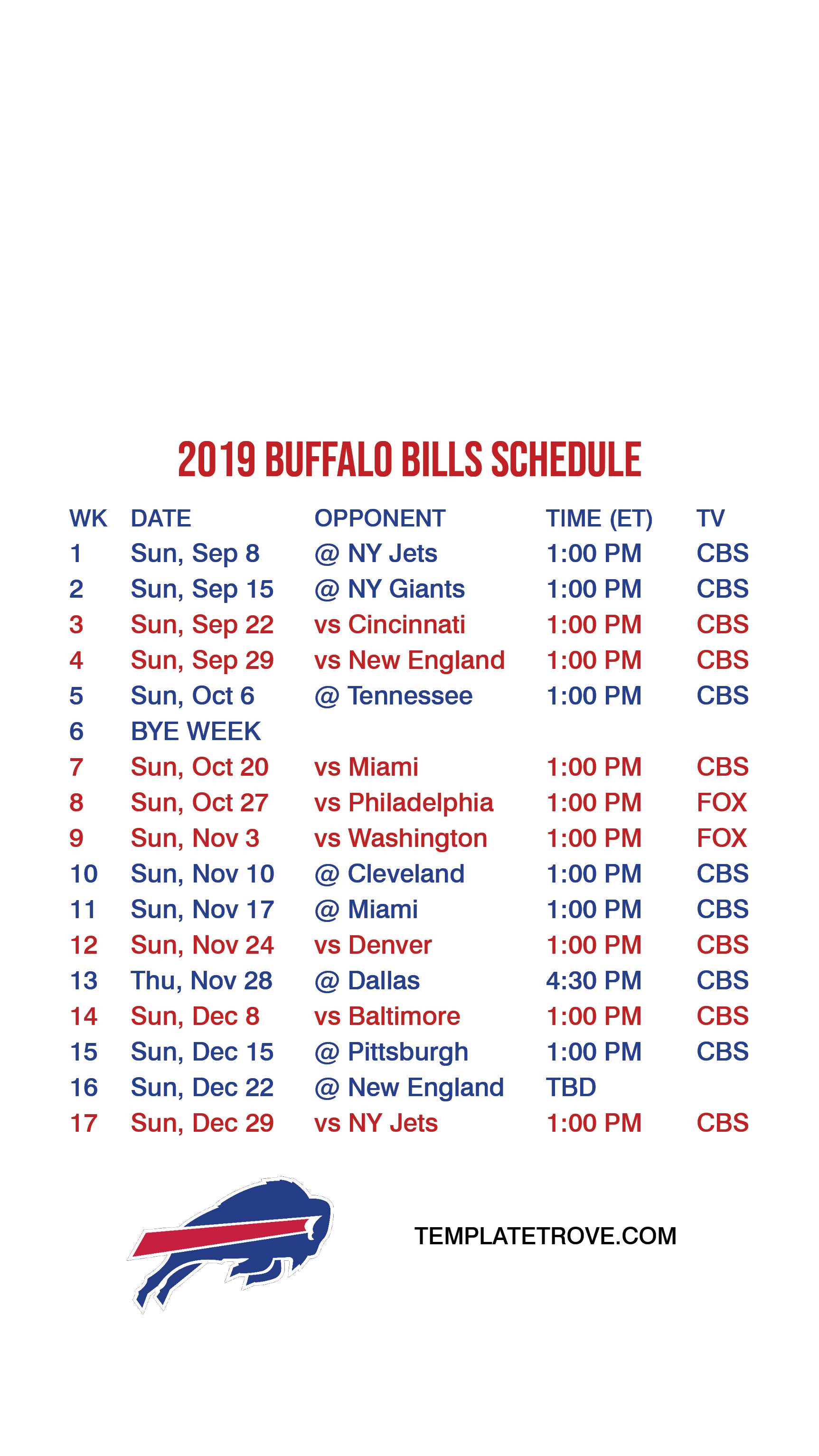 picture about Buffalo Bills Printable Schedule identify 2019-2020 Buffalo Payments Lock Exhibit Program for apple iphone 6-7