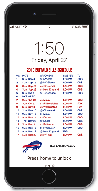 Buffalo Bills Schedule 2020.2019 2020 Buffalo Bills Lock Screen Schedule For Iphone 6 7