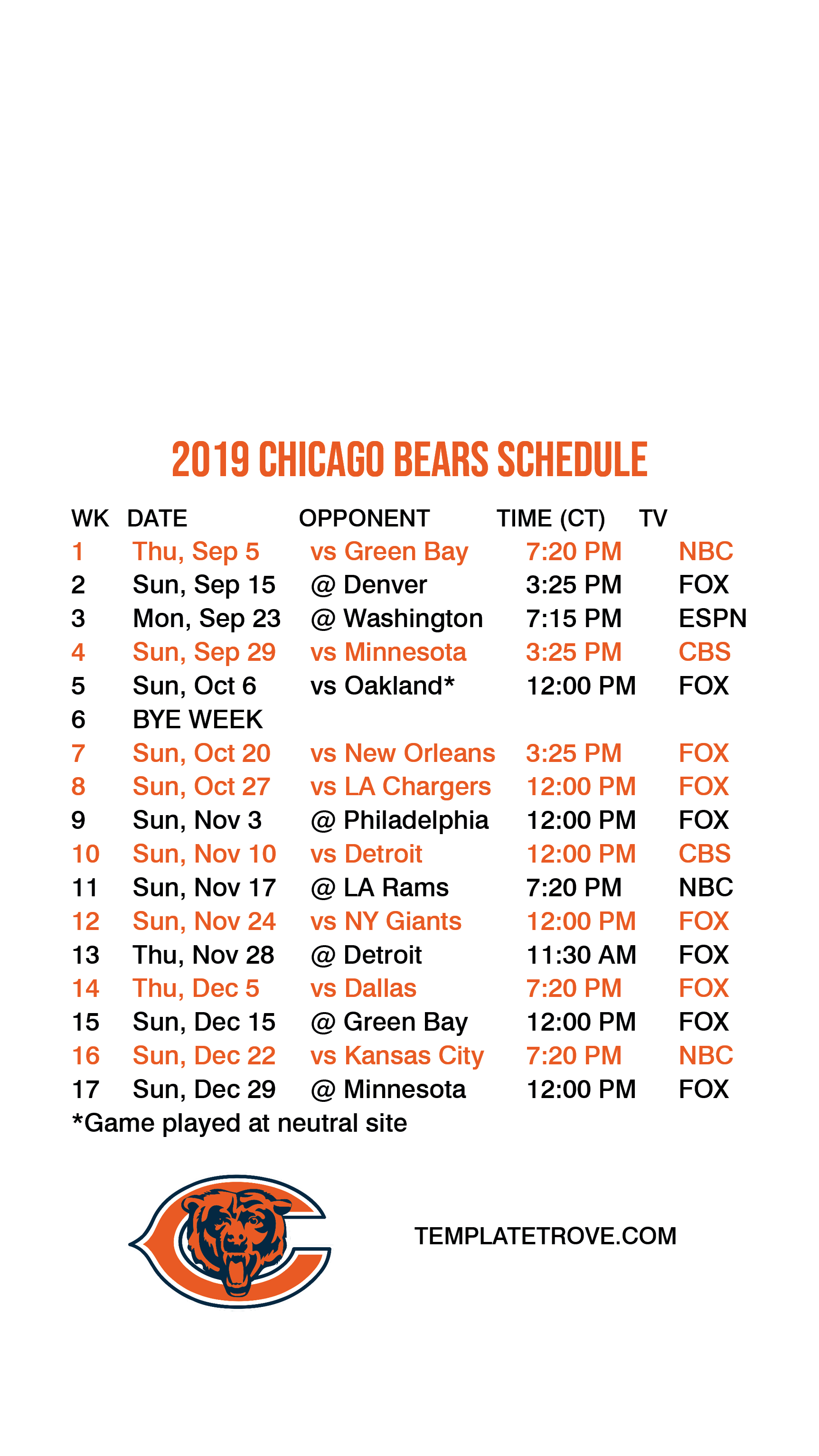 It's just a graphic of Lively Minnesota Vikings Schedule 2020 Printable