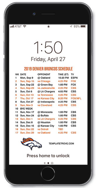 Broncos 2020 Schedule.2019 2020 Denver Broncos Lock Screen Schedule For Iphone 6 7