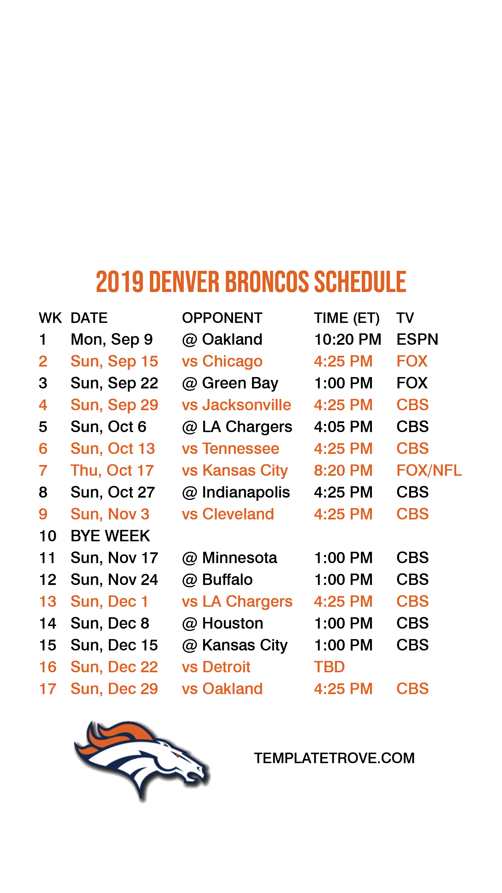 graphic relating to Denver Broncos Schedule Printable titled 2019-2020 Denver Broncos Lock Show Agenda for apple iphone 6-7